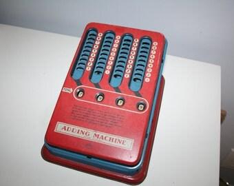 VIntage Red & Blue Metal Wolverine Adding Machine