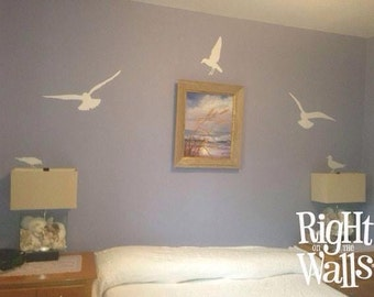Seagull Birds 7pc Vinyl Wall Decals Removable Beach Sea Gull Wall Decor and Vinyl Wall Art Stickers