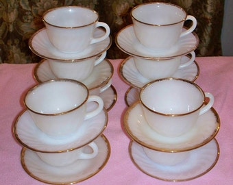 Set of 10 Each,Teacups and Plates,Fire King,Milk Glass with Gold Rims,Vintage,Antique