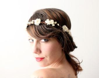 Woodland Bridal hair crown, Wedding flower crown, Floral head piece, Boho garland, Ivory flower crown - FAVOUR