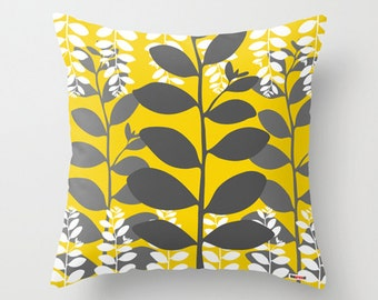 Decorative throw pillow cover leafs - Yellow and grey pillow cover - Modern pillow - Contemporary cushion - Designer pillow case - Sofa