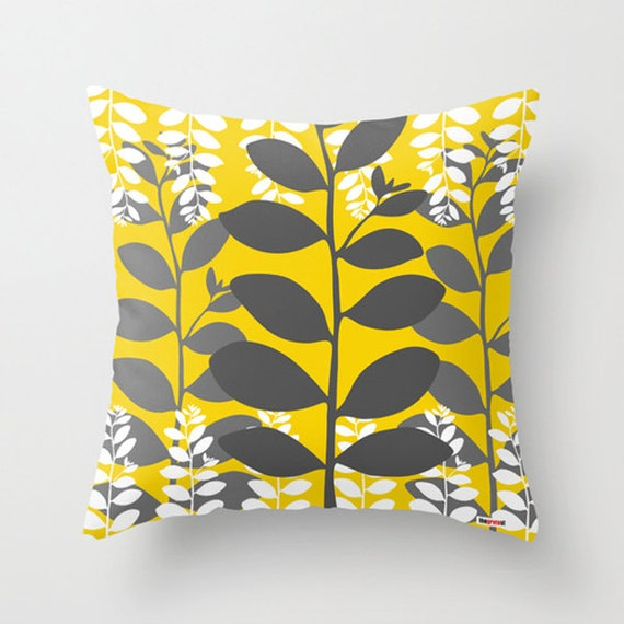 Yellow And Grey Throw Pillow Covers : Decorative pillow cover leafs Yellow and grey pillow cover