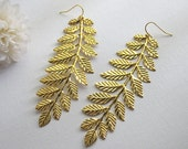 Large Leaf Branch Statement Earrings. Modern Boho Shabby Chic Woodland Country Wedding. Bridal Bridesmaid Gift For Her. stocking fillers