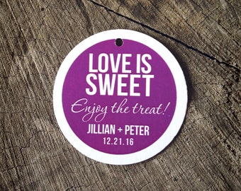 Modern Bold Wedding Favor Tags - Round Solid color Thank you tags - Radiant Orchid Wedding Gift Tags - Color Bridal Shower Tags - Set of 50