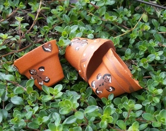 Set of 3 Hand Painted Gingerbread Ginger Bread Men Man Terracotta Clay Flower Plant Pots or Planters Miniature Doll House and Fairy Garden