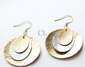 Layered Hammered Brass and German Silver Earrings - hammered brass and german silver discs (E53)