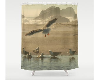 By The Sea Shower Curtain Seagulls At The Beach Ocean Curtain In Flight Wings Natural History Beach Decor Sweet Things