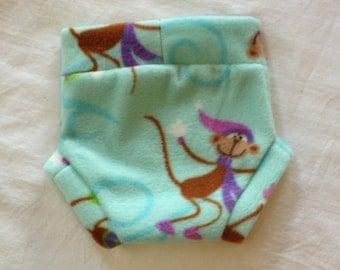 Diaper Cover --- Monkeys on Skates Anti Pill Fleece