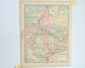 Russia in Asia - antique map - 1899