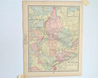 Russia in Asia - antique map - 1899