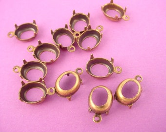 18 brass ox Oval Prong Settings 10x8 1 Ring open back