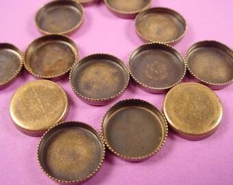 14 Brass  ox oval serrated notched Bezel Cups Wall bezel 10mm