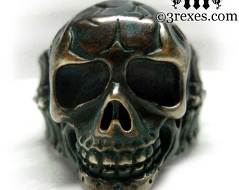 Mens Skull Ring Rustic Brass Biker Band Size 7.5