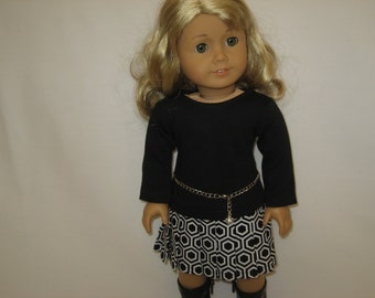 American  Girl Doll Clothes - Black and White Pleated Skirt