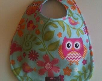 Baby Bib - Pink Owls  10 x 12.5