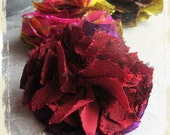 Feria carnation brooch - red and purple Japanese raw silk ribbons, felt