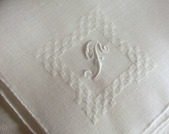 Vintage White Hanky with a White Initial F - Handkerchief Hankie
