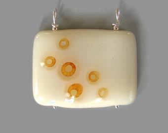 Orange Bubbles in Cream Fused Glass Pendant Sterling Silver SALE