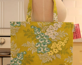 Book Bag Tote Purse - Blue and Yellow Flowers