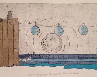 Retro surf art, beach house print, watercolour, ocean, original collograph
