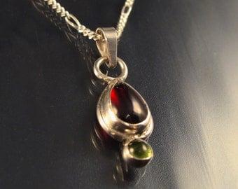 Sterling Silver Garnet Teardrop With Peridot Necklace