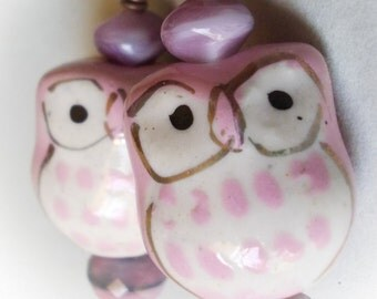 Pink Owl Earrings ceramic beads earrings antiqued copper forest cute night bird long vintage victorian style lavender lilac purple