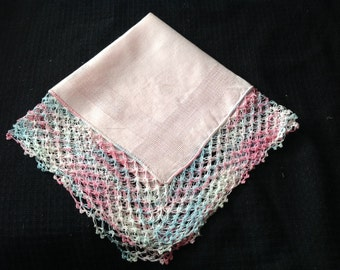 Vintage Pink Ladies' Hankie/Handkerchief with Pink, Blue, and White Crochet Trim