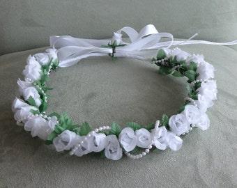 Bridal Hair Flower Crown Flower Girl Holy Communion Wedding Rose Headpiece Hair Wreath White Rosebuds Crown