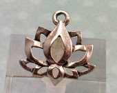 Lotus Flower Charm, Antiqued Pewter, 2 Pieces, AP88