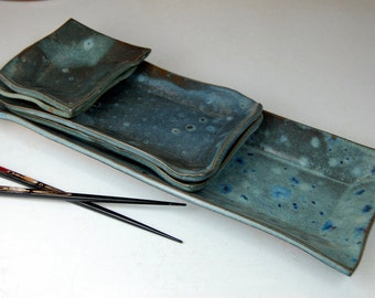 Five Dish Sushi Set in Slate Blue- Made to Order