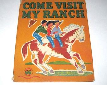Come Visit My Ranch Vintage 1950s Children's Cowboy Wonder Book by Baldwin Hawes