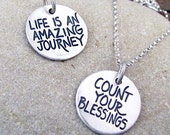 Inspirational Necklace - Count Your Blessings - Motivational Jewelry Sterling Silver by Hanni