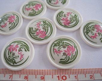 20 pcs of  Retro Flower Graphic Print Button - 23mm LAST SET