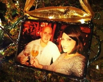 Personalized Photo Ornament, Anniversary Gift, Soldered Glass, Luminary Style, Transparent To Glow from Tree Lights, Custom Made