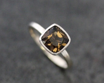 Smoky Quartz And Sterling Cushion Solitaire Gemstone Ring, Brown Gem Ring, Neutral Tone Gemstone Ring