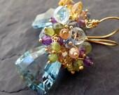 Amethyst, blue topaz, aquamarine earrings in gold - statement earrings - beaded gemstone jewelry - mermaid fashion - cluster earrings -