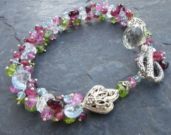 Gemstone bracelet in sterling silver with pink tourmaline, garnet, pink sapphire, peridot - valentine - flower lei - beaded gemstone jewelry