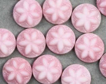 Vintage West German Glass Flower Cabochons 7mm Pink (10) VGC143