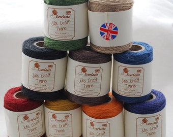 Organic Bio-degradable Natural Jute Twine - 9 Assorted Spools - approx 60 meters (65 yards) per Spool - Made in the UK