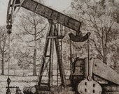 "Vintage 1980's Art Print ""Oil Patch"" Oil Well printed on Rag Paper with Artist's Notes: Commercial Proof Texan unique Artwork Texana  Texas"
