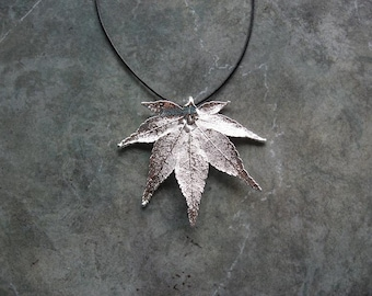 Real Leaf Pendant Necklace - Japanese Maple - Sterling Silver