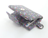 grey floral womens wallet. fabric credit card organizer. teen girl gift. shabby chic slate business card case