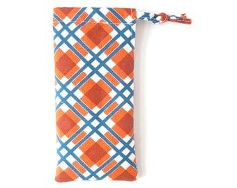 orange plaid ladies glasses pouch. padded sunglasses case for women. small gift. navy plaid