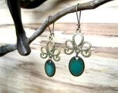 Emerald Drop Earrings, Green Dangle Earrings, Copper Enamel, Emerald Chandelier Earrings, Nickel Free Kidney Ear Wire