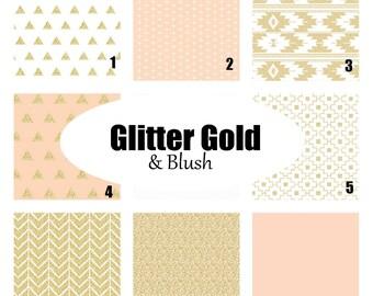 Custom Crib Bedding-3 piece-Glitter Gold & Blush