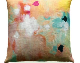 cotton/linen cushion with feather insert . 'everything, all at once'