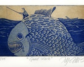etching,  Good Luck, fishing, fish, ocean, sea, cobalt blue, sepia, art for him, art for den, art for fisherman, beach house, home interior