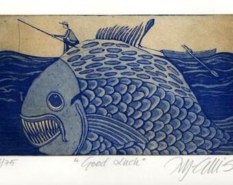 fish art print, fishing print, good luck wall art, humor wall art, funny art, blue art print, fishing wall art, gift for him,
