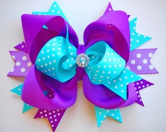 NEW glam over-the-top loopy layered PURPLE lavender and TURQUOISE hair bow clip