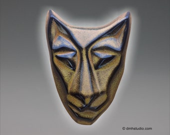 Baby Cat Mask Wall Sculpture in Golden Black Glaze